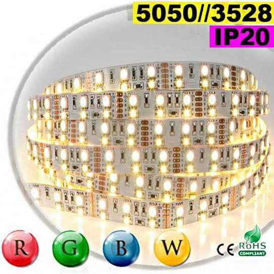 Strip LEDs RGB-WW IP20 - Double assemblage de LEDs 5050 et 3528 sur mesure