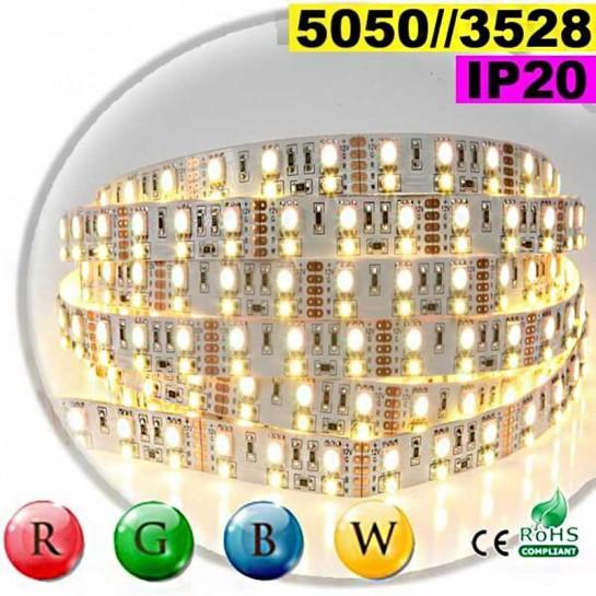 Strip LEDs RGB-WW IP20 - Double assemblage de LEDs 5050 et 3528 5 mètres