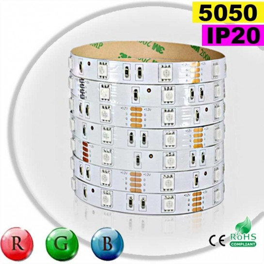 Strip Led RGB SMD 5050 IP20 30leds/m rouleau de 5 mètres