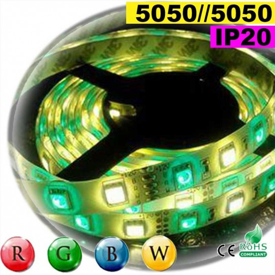 Strip Led RGB-WW IP20 60leds/m SMD 5050 sur mesure