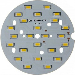 Platine 24 LEDS 5730 de 12 Watts Ø80mm