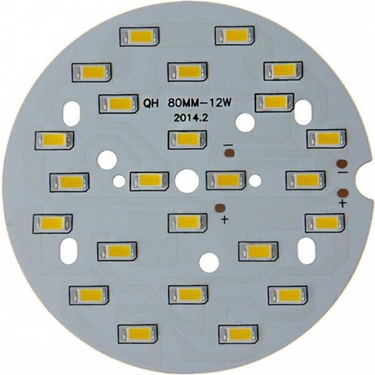 Platine 24 LEDS 5730 de 12 Watts Ø80mm