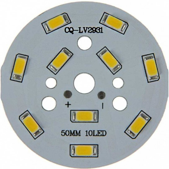Platine 10 LEDS 5730 de 5 Watts Ø50mm