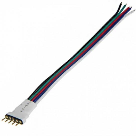 Prise 5 pins mâle avec cable pour strip LED RGB W