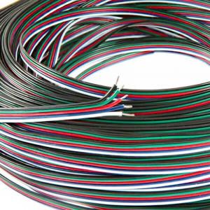 Câble électrique plat RGB W cinq couleurs de 0.3mm² longueur de 1m