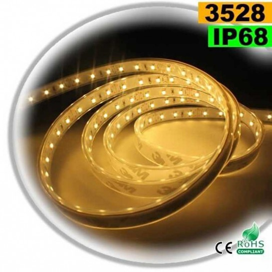 Strip Led blanc chaud SMD 3528 IP68 120leds/m 5m