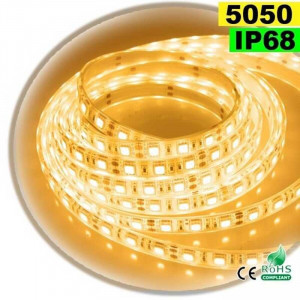 Strip Led blanc chaud SMD 5050 IP68 60leds/m 5 mètres