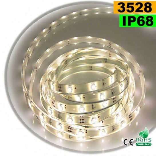 Strip LED blanc chaud léger SMD 3528 IP68 30 LED/m 5m