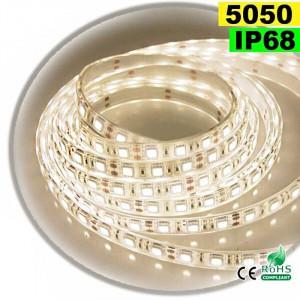 Strip Led blanc chaud leger SMD 5050 IP68 60leds/m 5m