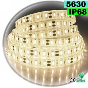 Strip LED blanc chaud léger SMD 5630 IP68 60 LED/m 5m