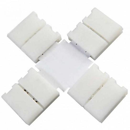 Boitier Clips-connect en croix pour Strip LEDs 8mm - Circuit board à 2 pistes entraxe 4.5mm