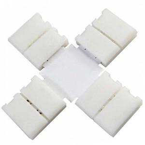 Boitier Clips-connect en croix pour Strip LEDs 10mm - Circuit board à 2 pistes entraxe 5mm