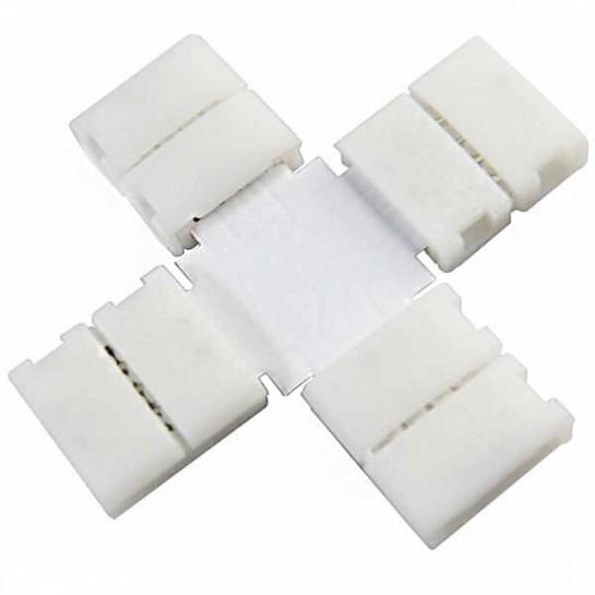 Boitier Clips-connect en croix pour Strip LEDs 10mm - Circuit board à 4 pistes entraxe 2,4mm