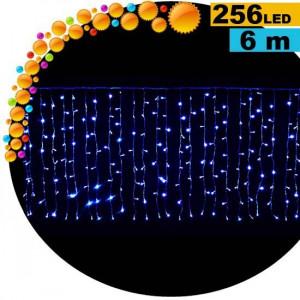 Guirlande rideau lumineux à 8 fonctions 256 LED bleu 6m