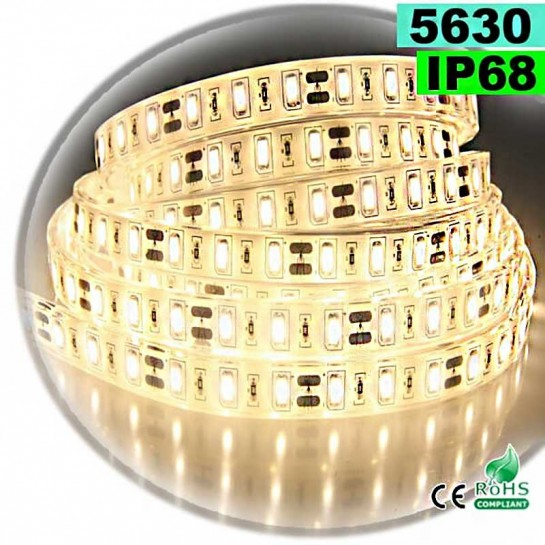 Strip Led blanc chaud SMD 5630 IP68 60 led / m 5m