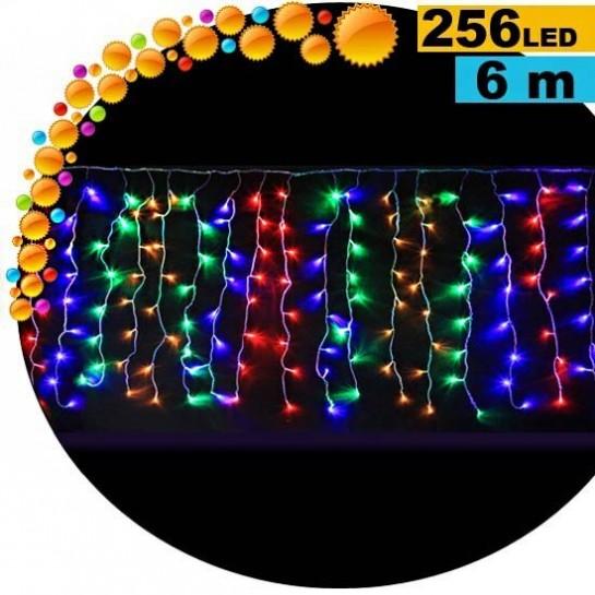 Guirlande rideau lumineux 256 LED multicolore 6m
