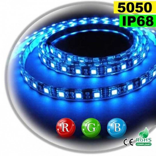 Strip Led RGB SMD 5050 IP68 60leds/m rouleau de 5 mètres