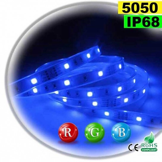 Strip Led RGB SMD 5050 IP68 30leds/m rouleau de 5 mètres