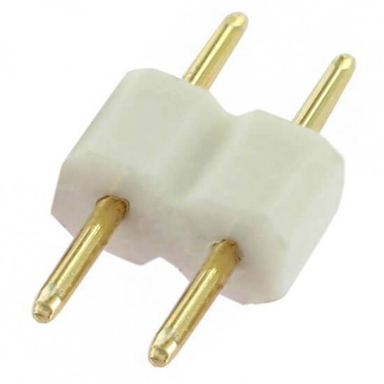 Double raccord 2 pins blanc pour strip leds unicolores
