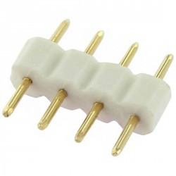 Double raccord 4 pins blanc pour strip leds unicolores