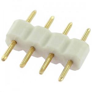 Double raccord 4 pins blanc pour strip leds unicolores