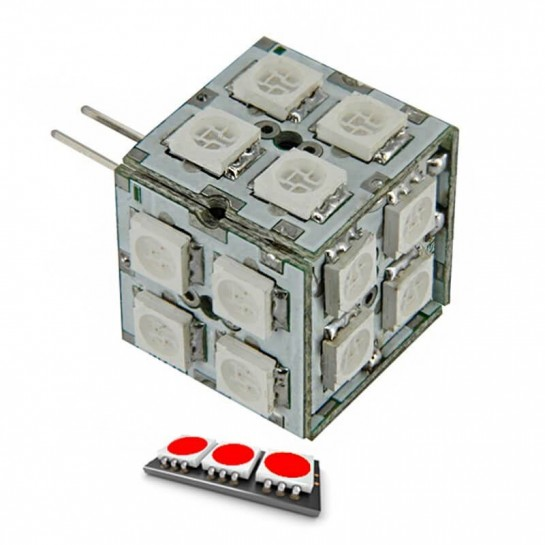 Ampoule cube 20 LED rouge type 5050 SMD 8 à 24 volts culot G4