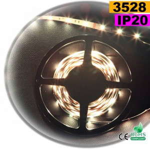Strip Led blanc chaud leger SMD 3528 IP20 30leds/m 5m