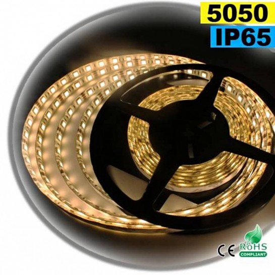 Strip Led blanc chaud leger SMD 5050 IP65 60leds/m sur mesure