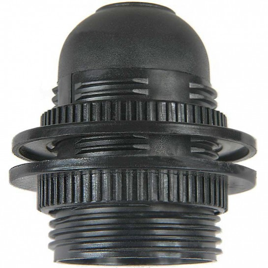 Douille plastique noir à double bagues de serrages pour ampoule à culot E27