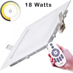 Dalle Templat LED carrée slim de 18 watts 225 x 225 mm encastré