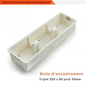 Boîte d'encastrement universelle rectangulaire triple grand format