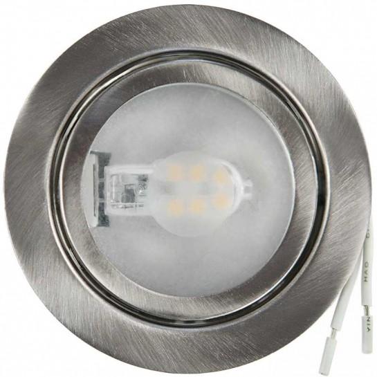 Spot à culot G4 finition argent brossé pour lampe LED ou Halogène