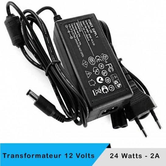 Transformateur 12 volts - 24 watts sur prise boitier noir