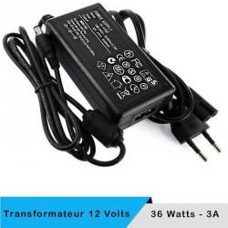 Transformateur 12 volts - 36 watts sur prise boitier noir