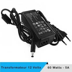Transformateur 12 volts - 60 watts sur prise boitier noir