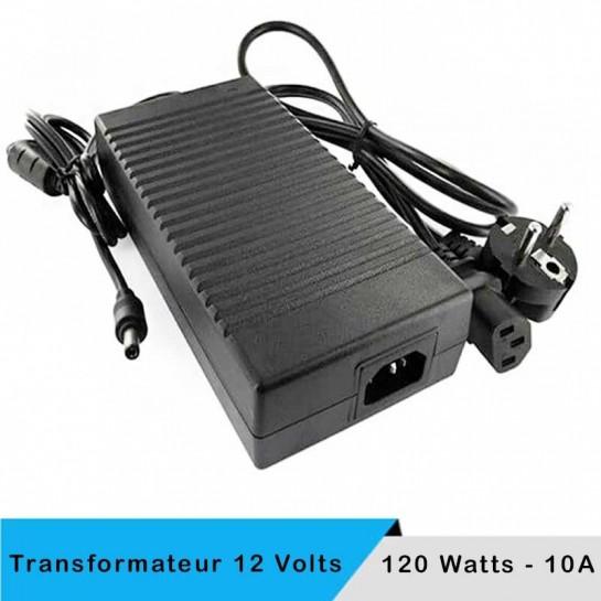 Transformateur 12 volts - 120 watts sur prise boitier noir
