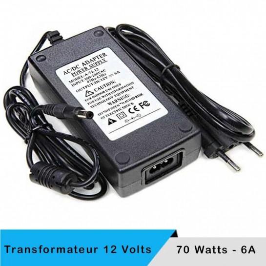 Transformateur 12 volts - 70 watts sur prise boitier noir