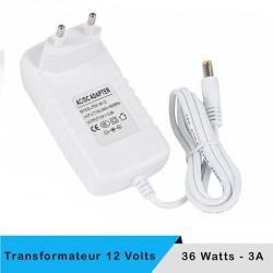 Alimentation LED transformateur 12 volts 36 watts sur prise boitier blanc