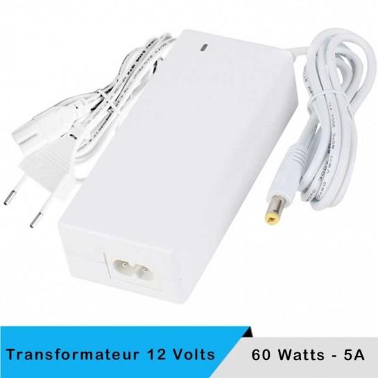 Alimentation LED transformateur blanc 12 volts 60 watts avec câble secteur