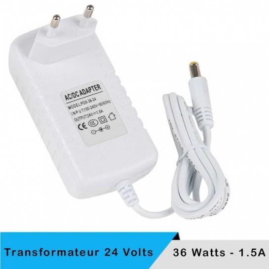 Transformateur 24 volts - 36 watts sur prise boitier blanc