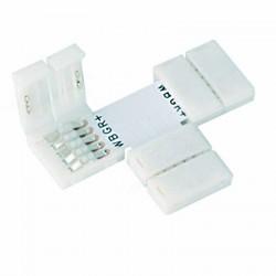 Boitier Clips-connect en T pour Strip LED 12mm - Circuit board à 5 pistes entraxe 1,8mm