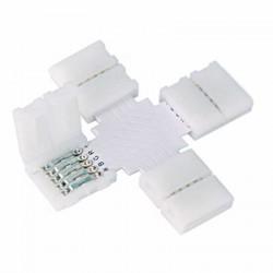 Boitier Clips-connect en croix pour Strip LED 12mm - Circuit board à 5 pistes entraxe 1,8mm