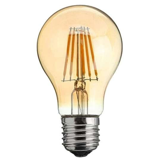 Ampoule sphérique à quatre filament LED culot E27 verre ambré