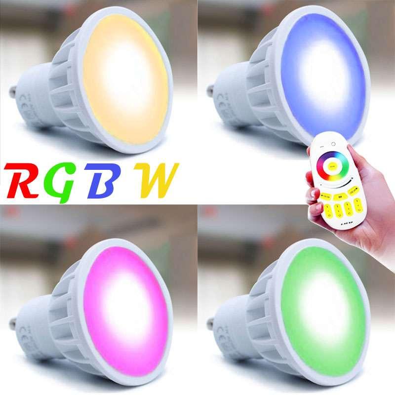ampoule led rgb w gu10 de 4 watts 6 led 5730 6 led de couleur rgb. Black Bedroom Furniture Sets. Home Design Ideas