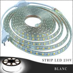 Strip LED 230 volts blanc en rouleau de 25, 50 ou 100 mètres