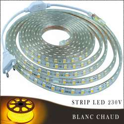 Strip LED 230 volts blanc chaud en rouleau de 25, 50 ou 100 mètres