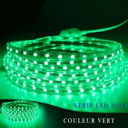 Strip LED 230 volts vert en rouleau de 25, 50 ou 100 mètres