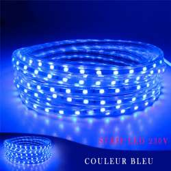 Strip LED 230 volts bleu en rouleau de 25, 50 ou 100 mètres