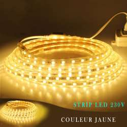 Strip LED 230 volts jaune en rouleau de 25, 50 ou 100 mètres