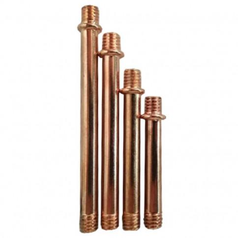 Tube acier cuivré fileté M6 double épaulement pour luminaire - longueur au choix suivant déclinaison